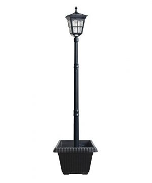 Kemeco ST4311AHP 6 LED Cast Aluminum Solar Lamp Post Light With Planter For Outdoor Landscape Pathway Street Patio Garden Yard 0 300x360