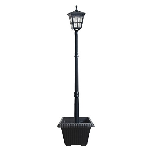Kemeco ST4311AHP 6 LED Cast Aluminum Solar Lamp Post Light With Planter For Outdoor Landscape Pathway Street Patio Garden Yard 0
