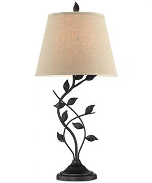 Kira Home Ambrose 31 Traditional Rustic Table Lamp Beige Fabric Shade Leaf Detailed Body 7W LED Bulb Energy Efficient Eco Friendly Matte Black Finish 0 300x360