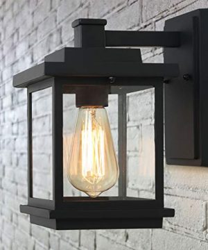 LALUZ A03156 Exterior Light Fixtures Farmhouse Outdoor Wall Lantern In Black With Clear Glass For Porch Barn 0 300x360