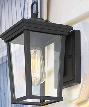 LALUZ Exterior Light Fixtures Farmhouse Wall Mount Lantern Outdoor Sconce With Clear Glass For Entryway Yards Front Porch Black 0 300x360
