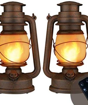 LED Vintage Lantern Realistic Flicker Flame Outdoor Hanging Lantern Battery Operated Camping Night Lights With Remote Landscape Decorative For Garden Patio Deck Yard Path 2 Pack Copper 0 300x360