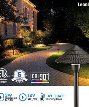 LEONLITE LED Landscape Lighting Outdoor Waterproof Garden Lights 3W 12V Low Voltage Pathway Lights 3000K Warm White ETL Listed Mushroom Shape 5 Years Warranty Pack Of 4 0 0 300x360