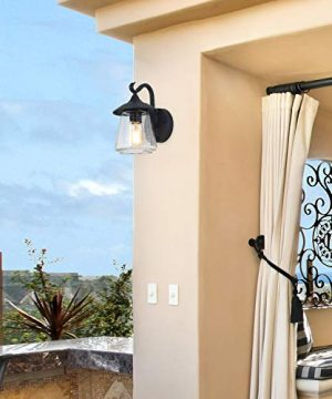 LOG BARN Outdoor Wall LightFarmhouse Exterior Lantern In Black With Seeded Glass For Porch Barn A03356 1 Light Light 0 2 300x360