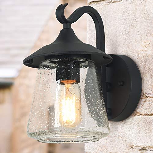 LOG BARN Outdoor Wall LightFarmhouse Exterior Lantern In Black With Seeded Glass For Porch Barn A03356 1 Light Light 0