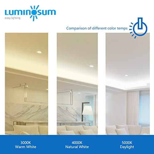 LUMINOSUM 4 Inch 9W COB LED Gimbal Downlight With Junction Box 700lm 60W Equiv Dimmable IC Rated Airtight ETL Energy Star Listed Daylight 5000k 12 Pack 0 3