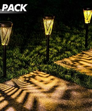 LeiDrail Solar Pathway Lights Outdoor Garden Path Light Spider Web Decorative Warm White LED Black Metal Stake Landscape Lighting Waterproof For Yard Patio Walkway Lawn In Ground Spike 6 Pack 0 300x360