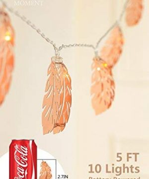 Lings Moment Rose Gold Feather Copper Metal 5Ft 10 LED Lantern String Lights For Party Decorations Rose Gold Bedroom Decor Fairy Lights Bohemian Decorations Wall Decor Bridal Shower Patio Lighting 0 3 300x360