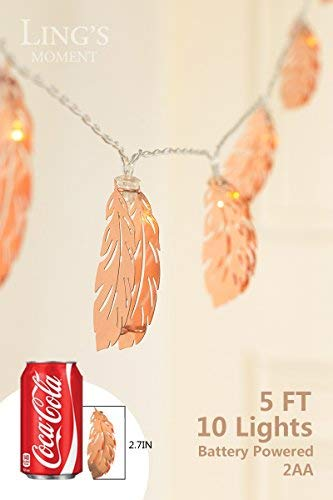 Lings Moment Rose Gold Feather Copper Metal 5Ft 10 LED Lantern String Lights For Party Decorations Rose Gold Bedroom Decor Fairy Lights Bohemian Decorations Wall Decor Bridal Shower Patio Lighting 0 3