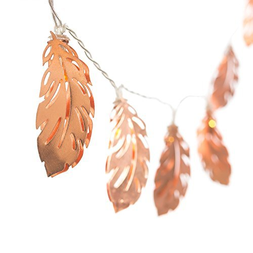 Lings Moment Rose Gold Feather Copper Metal 5Ft 10 LED Lantern String Lights For Party Decorations Rose Gold Bedroom Decor Fairy Lights Bohemian Decorations Wall Decor Bridal Shower Patio Lighting 0