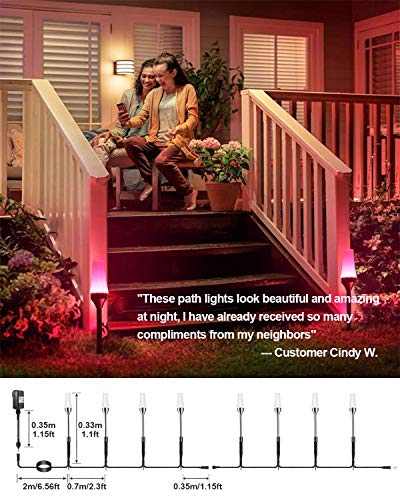 Low Voltage Landscape Lights ALOVECO RGB Pathway Lights Outdoor 8 In 1 Waterproof LED Path Lights Color Changing Consistently Garden Landscape Lighting For Patio Lawn Yard Driveway5V 0 3