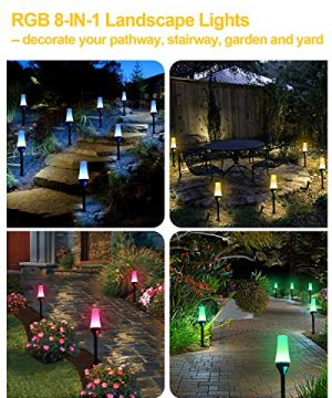 Low Voltage Landscape Lights ALOVECO RGB Pathway Lights Outdoor 8 In 1 Waterproof LED Path Lights Color Changing Consistently Garden Landscape Lighting For Patio Lawn Yard Driveway5V 0 4 300x360