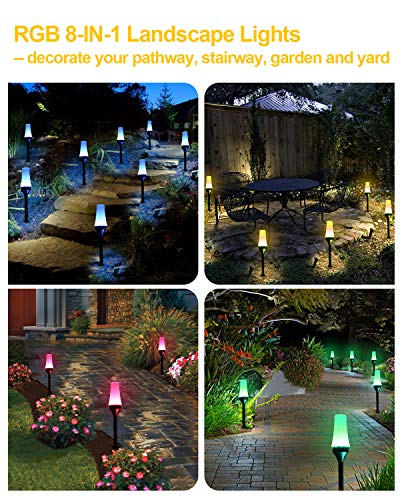 Low Voltage Landscape Lights ALOVECO RGB Pathway Lights Outdoor 8 In 1 Waterproof LED Path Lights Color Changing Consistently Garden Landscape Lighting For Patio Lawn Yard Driveway5V 0 4
