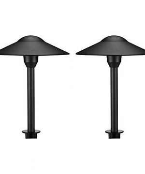 Lumina Low Voltage Landscape Lighting Cast Aluminum Outdoor Path And Area Light Warm White 3W G4 LED Bulb And ABS Heavy Duty Ground Stake Included For Yard Walkway Lawn Black PAL0101 BKLED2 2PK 0 300x360