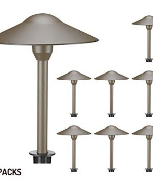 Lumina Low Voltage Landscape Lighting Cast Aluminum Outdoor Path And Area Light Warm White 3W G4 LED Bulb And ABS Heavy Duty Ground Stake Included For Yard Walkway Lawn Bronze PAL0101 BZLED8 8PK 0 300x360