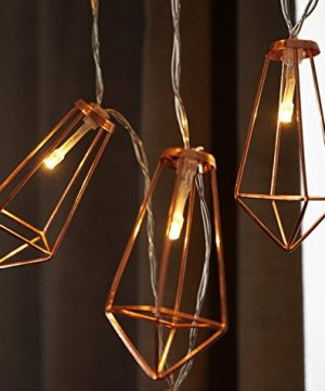 LuxLumi Diamonds Are Forever Rose String Lights Gold Wire Caged Soft White 20 LED For Rustic Bedroom Nursery Dorm Home Dcor Teen Kids Baby Bridal Shower 4th Of July Pack Of 2 0 1 300x360