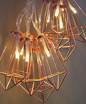 LuxLumi Diamonds Are Forever Rose String Lights Gold Wire Caged Soft White 20 LED For Rustic Bedroom Nursery Dorm Home Dcor Teen Kids Baby Bridal Shower 4th Of July Pack Of 2 0 3 300x360