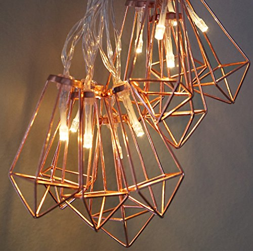 LuxLumi Diamonds Are Forever Rose String Lights Gold Wire Caged Soft White 20 LED For Rustic Bedroom Nursery Dorm Home Dcor Teen Kids Baby Bridal Shower 4th Of July Pack Of 2 0 3