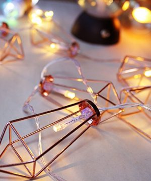 LuxLumi Diamonds Are Forever Rose String Lights Gold Wire Caged Soft White 20 LED For Rustic Bedroom Nursery Dorm Home Dcor Teen Kids Baby Bridal Shower 4th Of July Pack Of 2 0 4 300x360