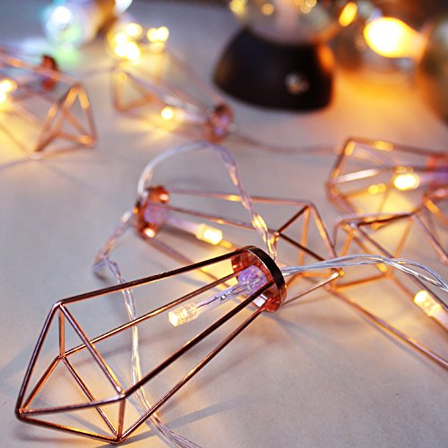 LuxLumi Diamonds Are Forever Rose String Lights Gold Wire Caged Soft White 20 LED For Rustic Bedroom Nursery Dorm Home Dcor Teen Kids Baby Bridal Shower 4th Of July Pack Of 2 0 4