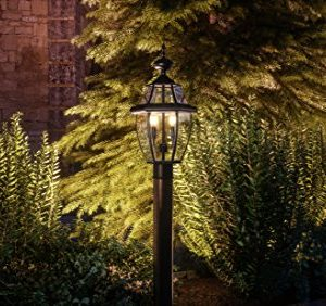 Luxury Colonial Outdoor Post Light Large Size 21H X 11W With Tudor Style Elements Versatile Design High End Black Silk Finish And Beveled Glass UQL1148 By Urban Ambiance 0 0 300x282