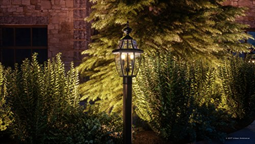 Luxury Colonial Outdoor Post Light Large Size 21H X 11W With Tudor Style Elements Versatile Design High End Black Silk Finish And Beveled Glass UQL1148 By Urban Ambiance 0 0