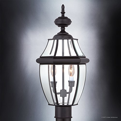 Luxury Colonial Outdoor Post Light Large Size 21H X 11W With Tudor Style Elements Versatile Design High End Black Silk Finish And Beveled Glass UQL1148 By Urban Ambiance 0 1