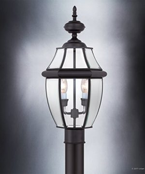 Luxury Colonial Outdoor Post Light Large Size 21H X 11W With Tudor Style Elements Versatile Design High End Black Silk Finish And Beveled Glass UQL1148 By Urban Ambiance 0 2 300x360