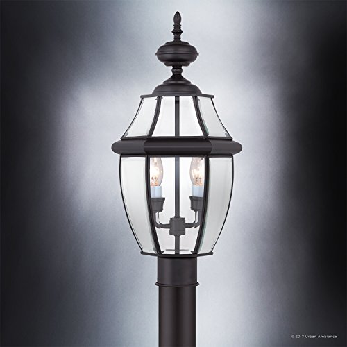Luxury Colonial Outdoor Post Light Large Size 21H X 11W With Tudor Style Elements Versatile Design High End Black Silk Finish And Beveled Glass UQL1148 By Urban Ambiance 0 2