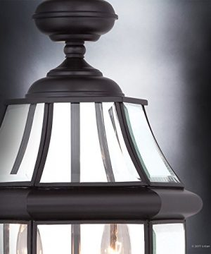 Luxury Colonial Outdoor Post Light Large Size 21H X 11W With Tudor Style Elements Versatile Design High End Black Silk Finish And Beveled Glass UQL1148 By Urban Ambiance 0 3 300x360