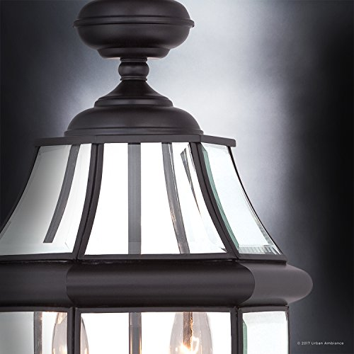 Luxury Colonial Outdoor Post Light Large Size 21H X 11W With Tudor Style Elements Versatile Design High End Black Silk Finish And Beveled Glass UQL1148 By Urban Ambiance 0 3
