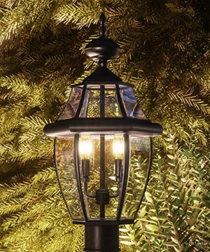 Luxury Colonial Outdoor Post Light Large Size 21H X 11W With Tudor Style Elements Versatile Design High End Black Silk Finish And Beveled Glass UQL1148 By Urban Ambiance 0 300x360