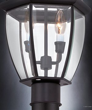 Luxury Colonial Outdoor Post Light Large Size 21H X 11W With Tudor Style Elements Versatile Design High End Black Silk Finish And Beveled Glass UQL1148 By Urban Ambiance 0 4 300x360
