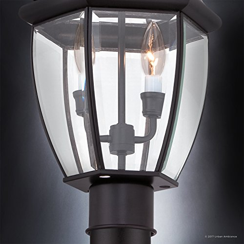 Luxury Colonial Outdoor Post Light Large Size 21H X 11W With Tudor Style Elements Versatile Design High End Black Silk Finish And Beveled Glass UQL1148 By Urban Ambiance 0 4