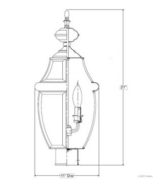 Luxury Colonial Outdoor Post Light Large Size 21H X 11W With Tudor Style Elements Versatile Design High End Black Silk Finish And Beveled Glass UQL1148 By Urban Ambiance 0 5 300x360