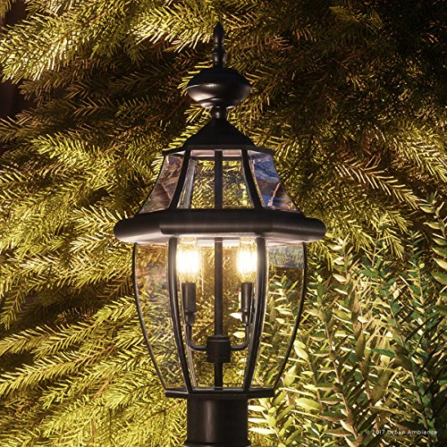 Luxury Colonial Outdoor Post Light Large Size 21H X 11W With Tudor Style Elements Versatile Design High End Black Silk Finish And Beveled Glass UQL1148 By Urban Ambiance 0