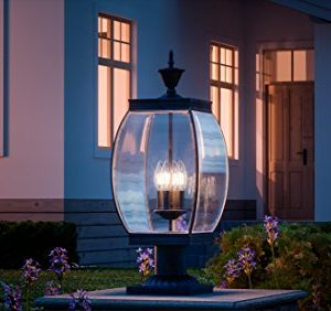 Luxury Colonial Outdoor Post Light Large Size 265H X 11W With Transitional Style Elements Bowed Design Gorgeous Dark Medieval Bronze Finish And Beveled Glass UQL1175 By Urban Ambiance 0 0 300x282