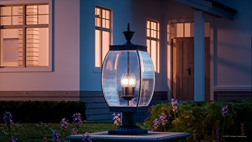 Luxury Colonial Outdoor Post Light Large Size 265H X 11W With Transitional Style Elements Bowed Design Gorgeous Dark Medieval Bronze Finish And Beveled Glass UQL1175 By Urban Ambiance 0 0