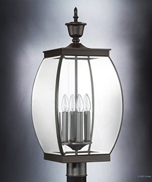 Luxury Colonial Outdoor Post Light Large Size 265H X 11W With Transitional Style Elements Bowed Design Gorgeous Dark Medieval Bronze Finish And Beveled Glass UQL1175 By Urban Ambiance 0 1 300x360