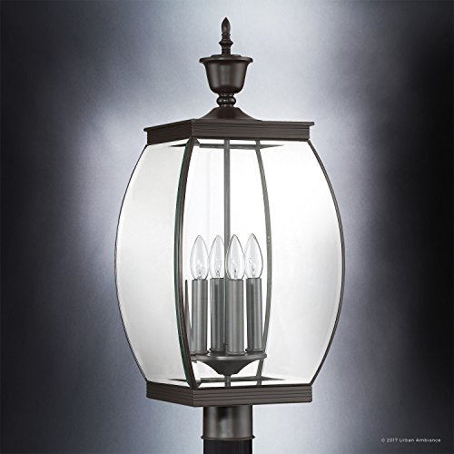 Luxury Colonial Outdoor Post Light Large Size 265H X 11W With Transitional Style Elements Bowed Design Gorgeous Dark Medieval Bronze Finish And Beveled Glass UQL1175 By Urban Ambiance 0 1