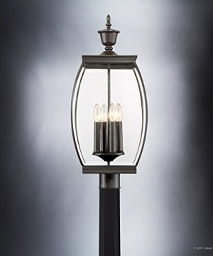 Luxury Colonial Outdoor Post Light Large Size 265H X 11W With Transitional Style Elements Bowed Design Gorgeous Dark Medieval Bronze Finish And Beveled Glass UQL1175 By Urban Ambiance 0 2 300x360