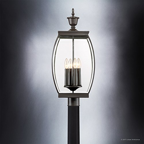 Luxury Colonial Outdoor Post Light Large Size 265H X 11W With Transitional Style Elements Bowed Design Gorgeous Dark Medieval Bronze Finish And Beveled Glass UQL1175 By Urban Ambiance 0 2