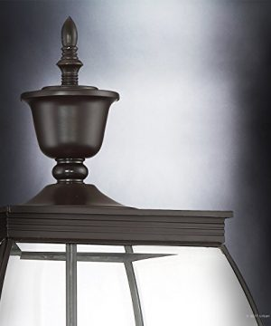 Luxury Colonial Outdoor Post Light Large Size 265H X 11W With Transitional Style Elements Bowed Design Gorgeous Dark Medieval Bronze Finish And Beveled Glass UQL1175 By Urban Ambiance 0 3 300x360