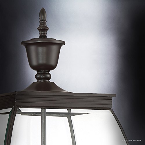 Luxury Colonial Outdoor Post Light Large Size 265H X 11W With Transitional Style Elements Bowed Design Gorgeous Dark Medieval Bronze Finish And Beveled Glass UQL1175 By Urban Ambiance 0 3