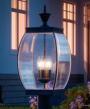 Luxury Colonial Outdoor Post Light Large Size 265H X 11W With Transitional Style Elements Bowed Design Gorgeous Dark Medieval Bronze Finish And Beveled Glass UQL1175 By Urban Ambiance 0 300x360
