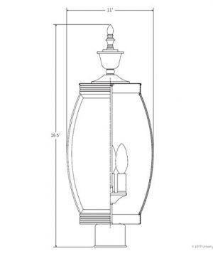 Luxury Colonial Outdoor Post Light Large Size 265H X 11W With Transitional Style Elements Bowed Design Gorgeous Dark Medieval Bronze Finish And Beveled Glass UQL1175 By Urban Ambiance 0 5 300x360