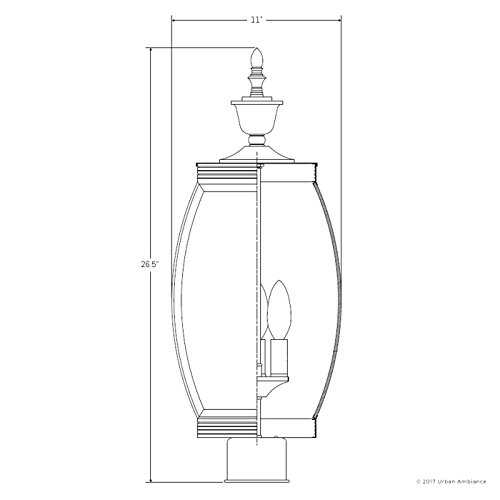 Luxury Colonial Outdoor Post Light Large Size 265H X 11W With Transitional Style Elements Bowed Design Gorgeous Dark Medieval Bronze Finish And Beveled Glass UQL1175 By Urban Ambiance 0 5