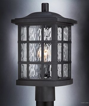 Luxury Craftsman Outdoor Post Light Medium Size 165H X 95W With Tudor Style Elements Highly Detailed Design High End Black Silk Finish And Water Glass UQL1246 By Urban Ambiance 0 1 300x360
