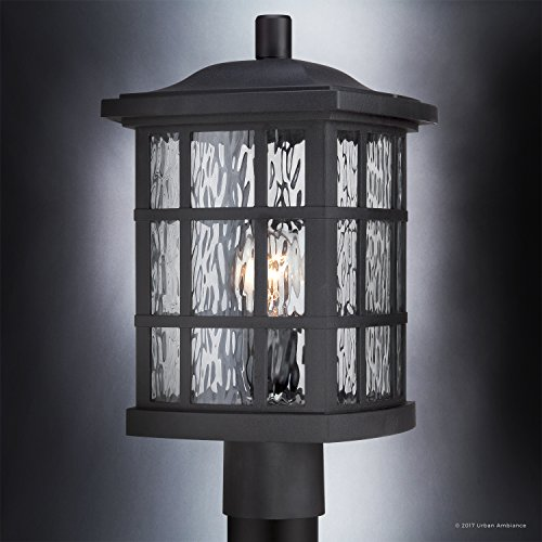 Luxury Craftsman Outdoor Post Light Medium Size 165H X 95W With Tudor Style Elements Highly Detailed Design High End Black Silk Finish And Water Glass UQL1246 By Urban Ambiance 0 1