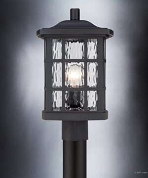 Luxury Craftsman Outdoor Post Light Medium Size 165H X 95W With Tudor Style Elements Highly Detailed Design High End Black Silk Finish And Water Glass UQL1246 By Urban Ambiance 0 2 300x360